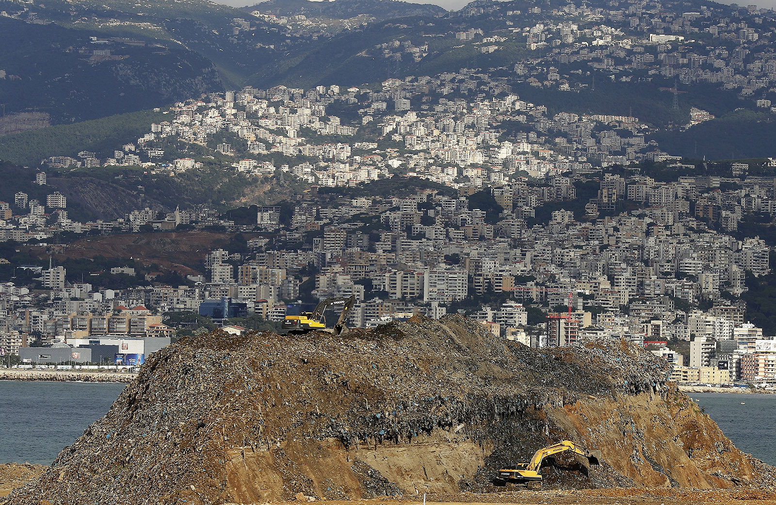 A partial view shows the Karantine garbage dump situated on the northern outskirts of Beirut