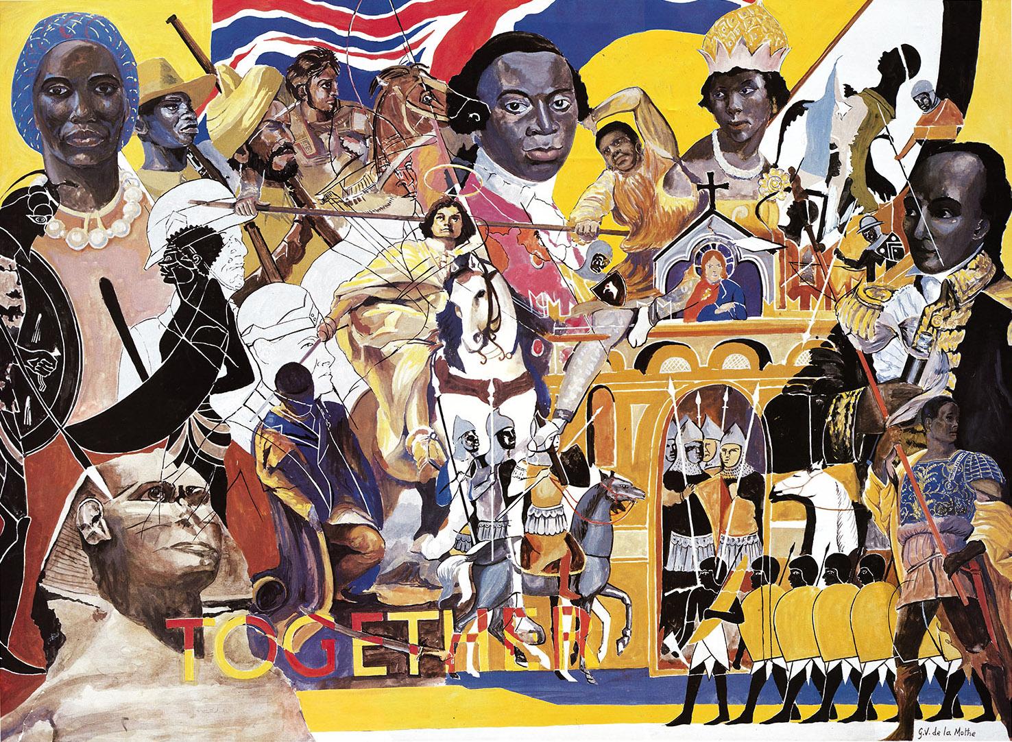 Sebuah poster oleh Gordon de la Mothe menunjukkan lukisan tokoh kulit hitam dari sejarah dan zaman kuno, termasuk jenderal Haiti Toussaint L'Ouverture dan abolisionis Olaudah Equiano, di samping Union Jack, Sphinx dan kata 'Bersama'