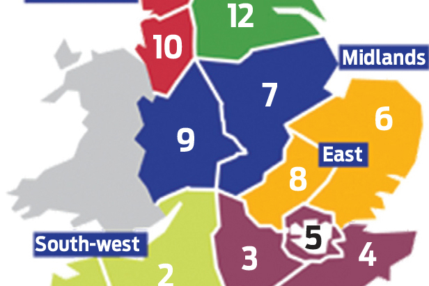 Motorway Map Of England.Map Breakdown Of Highways England S Maintenance Contracts Area 1 To
