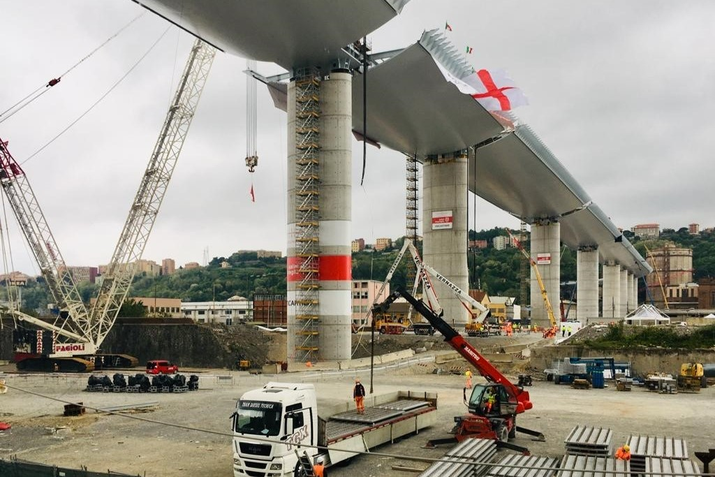 Polcevera Viaduct rebuild | Main construction complete 19 months after tragic collapse - New Civil Engineer